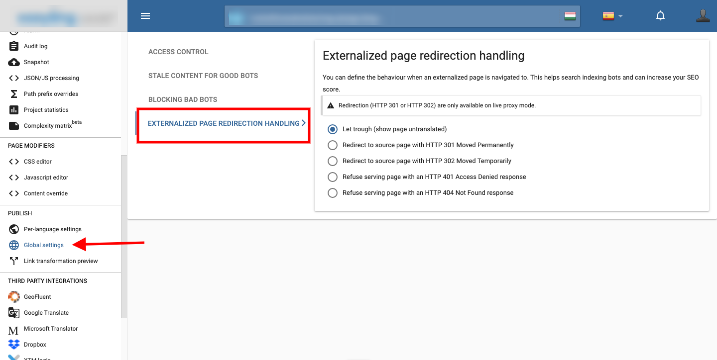 Externalized page redirecting
