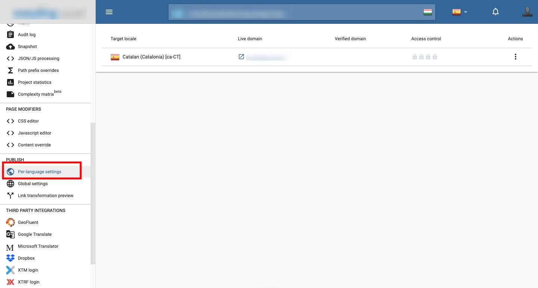 Split publish settings