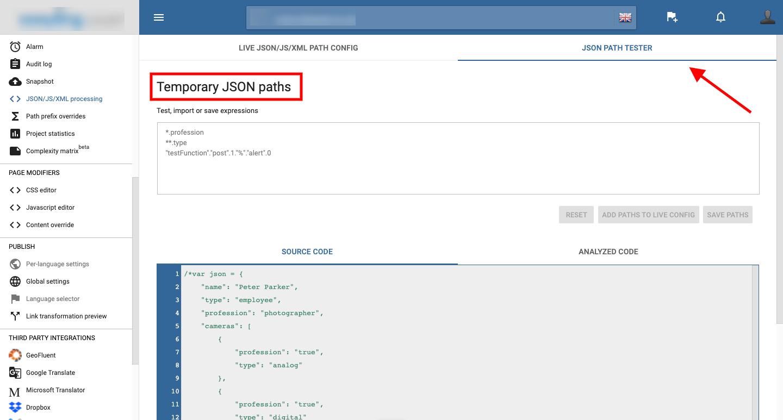 Temporary JSON paths